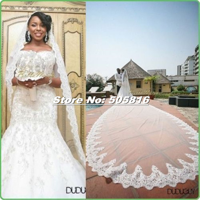 White or Ivory 1 Layer 5 Meters Long Lace Edge Wedding Bridal Veil