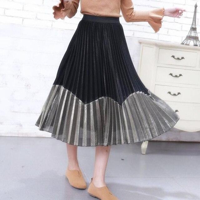 e842be4c7bda The new elastic waist glitter skirt stitching silver gold flash light silk  skirt long pleated skirts