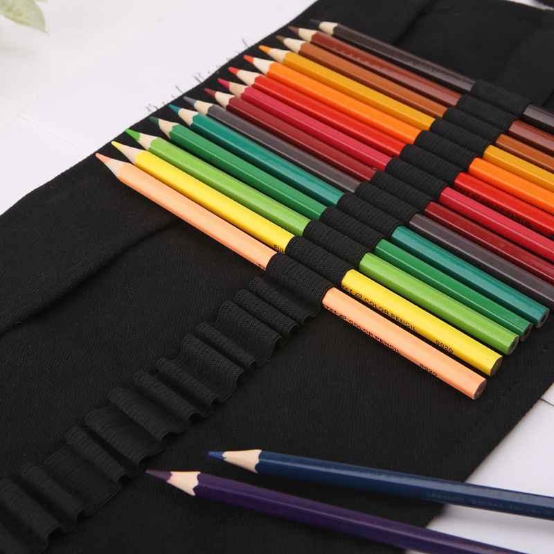 สีดำสีโรงเรียนดินสอ Roller 12/24/36/48/72 Holes Canvas Roll Up Makeup ผ้าใบปากกากระเป๋าสำหรับหญิงเครื่องเขียน
