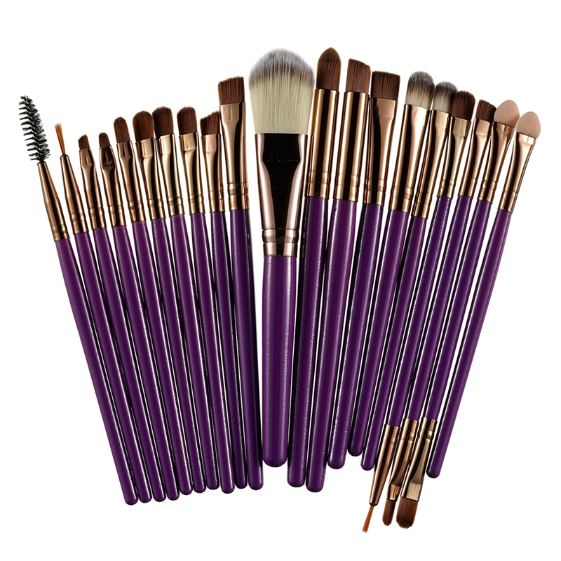 20Pcs Professional Makeup Brushes Set Powder  Eyeshadow Make Up Brushes Cosmetics Soft Synthetic Purple+Brown 11