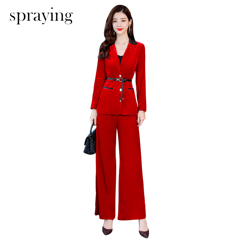2019 Spring two piece set women velvet trends fashion sets long sleeve office lady Suit lapel