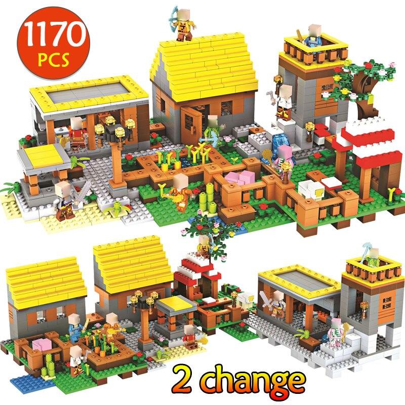 Technique Mon Monde Legoinglys Minecrafted Building Block Mon Village Briques DIY Éclairer De Noël Halloween Cadeau Jouets Kid