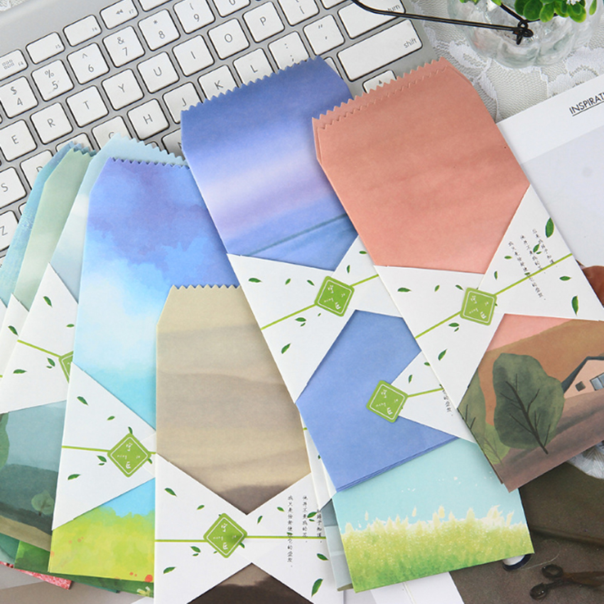 5Pcs/pack Distance And Poetry Paper Envelope Letter Paper Message Card Letter Stationary Envelopes Office School Supply