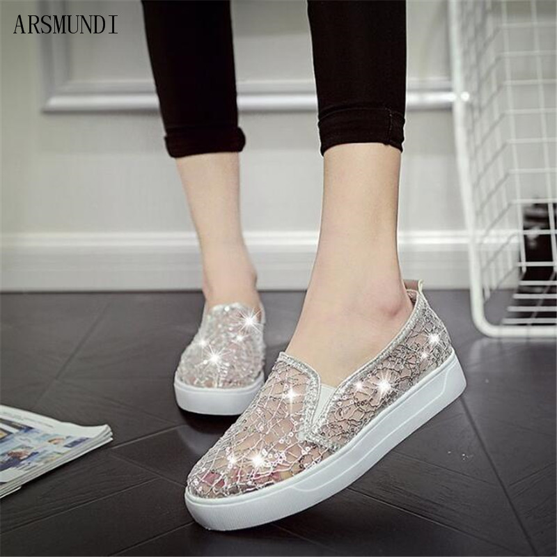 ARSMUNDI 2019 New Fashion Summer Lace Rhinestones Women Flats Casual Cut Outs Shoes Hollow Floral Breathable Platform Shoes M353