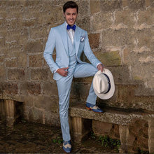 Italian Blue Men Suits for Wedding Suits Evening Party Slim Fit Prom Blazer Groom Tuxedos Peaked Lapel Terno Masculino 3Pieces
