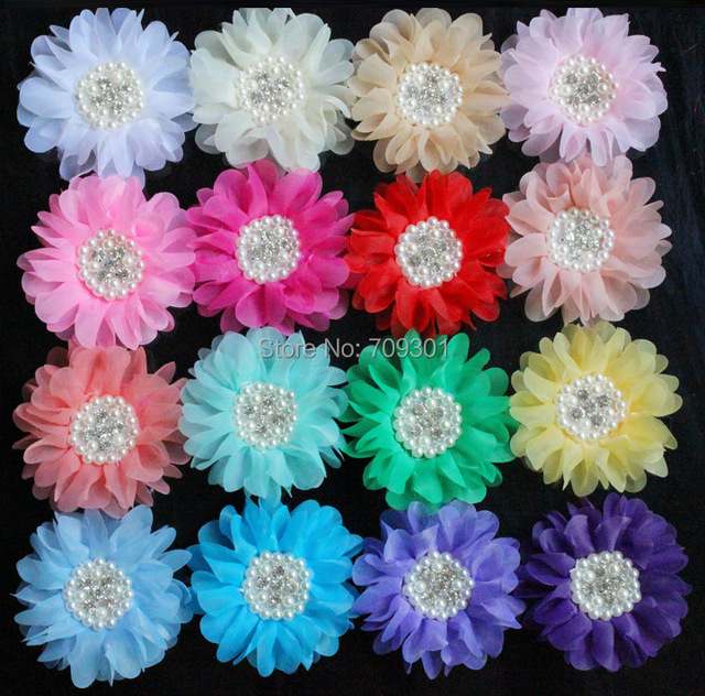 Free Shipping50pcs18 Colors Wholesale New Silk Organza Flowers W