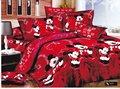 Rojo mickey mouse juegos de cama de dibujos animados patrón de los niños edredón o edredón cubre los sistemas 4 unid del algodón Egipcio completo/consolador de la reina