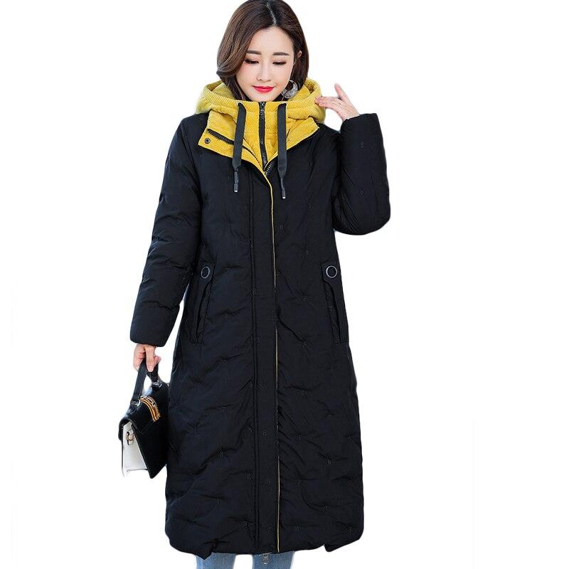 Big Size 5XL Women Winter Down Jacket 2018 High Quality Ladies Coat Winter Long   Parka   Hooded Warm Outwear Female   Parkas   D508
