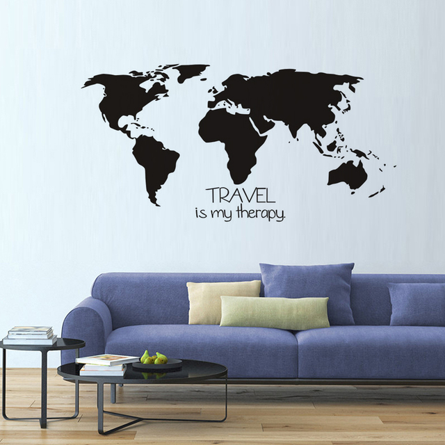 Travel is my therapy wall stickers world map bedroom living travel is my therapy wall stickers world map bedroom living roomremovable vinyl adhesive wall decals sticker gumiabroncs Gallery