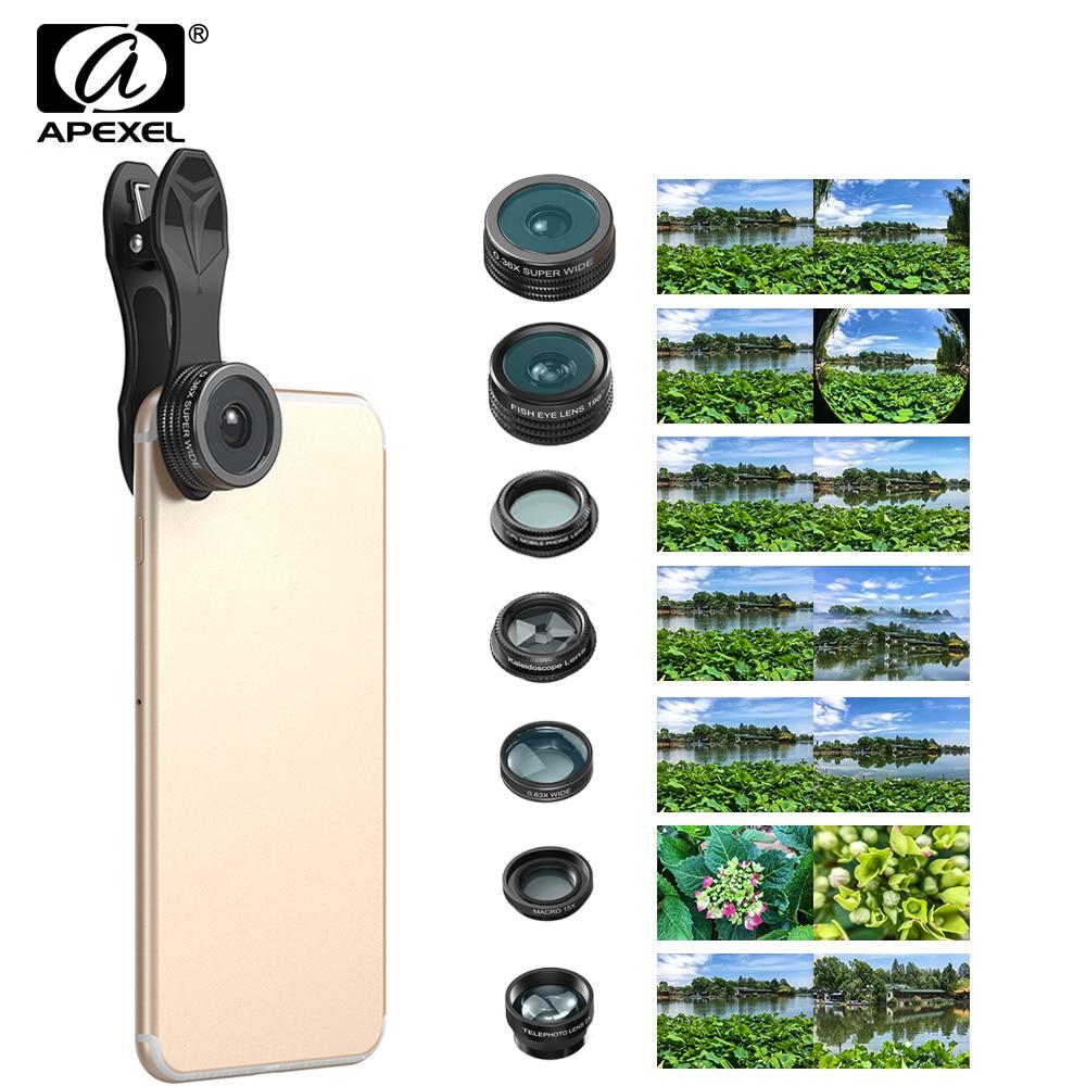 imágenes para APEXEL 7 en 1 Kit de Lentes de ojo de Pez ojo de pez Teléfono súper gran Angular de Lente macro Filtro CPL Caleidoscopio y 2X Lente de zoom forsmartphone