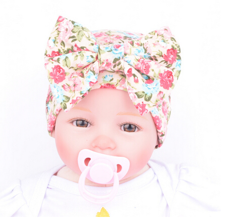 Free Shipping!2016 New Hospital Newborn Baby Girl Beanie Hat With Flower Big Bowknot Newborn Knit Infant Caps Baby Toddler Hat