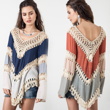 CHRLEISURE Fashion Autumn Long Sleeve T-Shirts Women Sexy Hollow Out Backless Bohemian T-shirt Large Size Tops 2 Colors