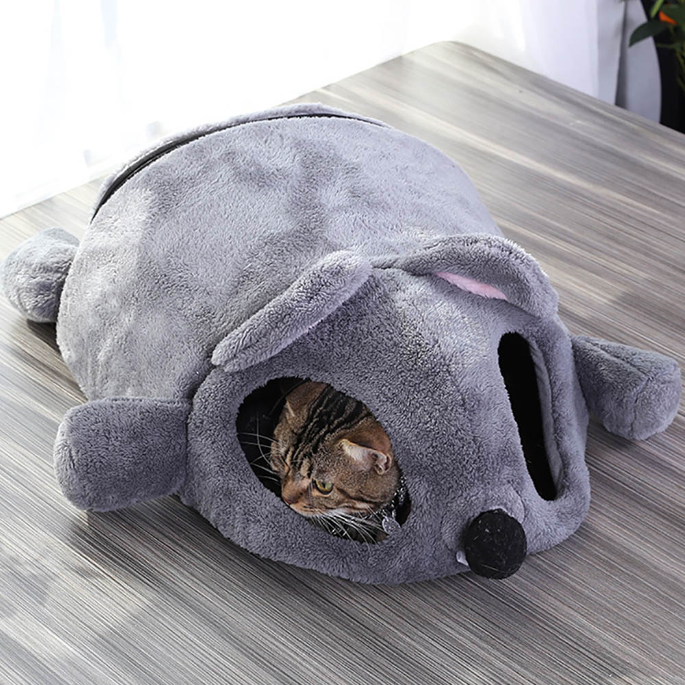 Cute Cat Soft Cave Bed Funny Mice Shape Kitten House With Two Playing Ball Toys Warm Nest Pet Cats Sleeping Mat
