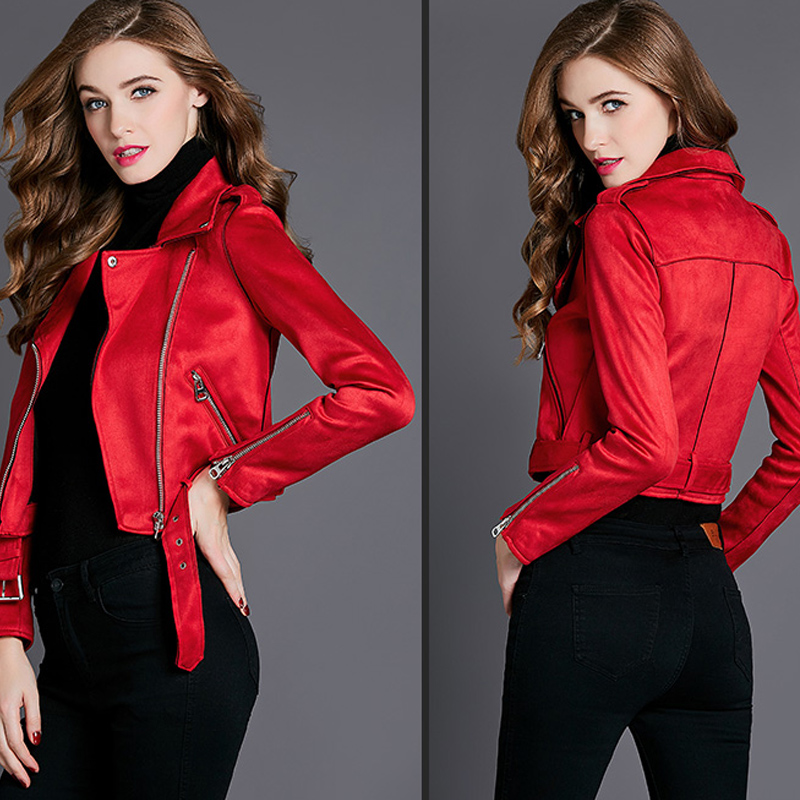 FTLZZ New Faux Suede Mulheres Motorcycle Jacket