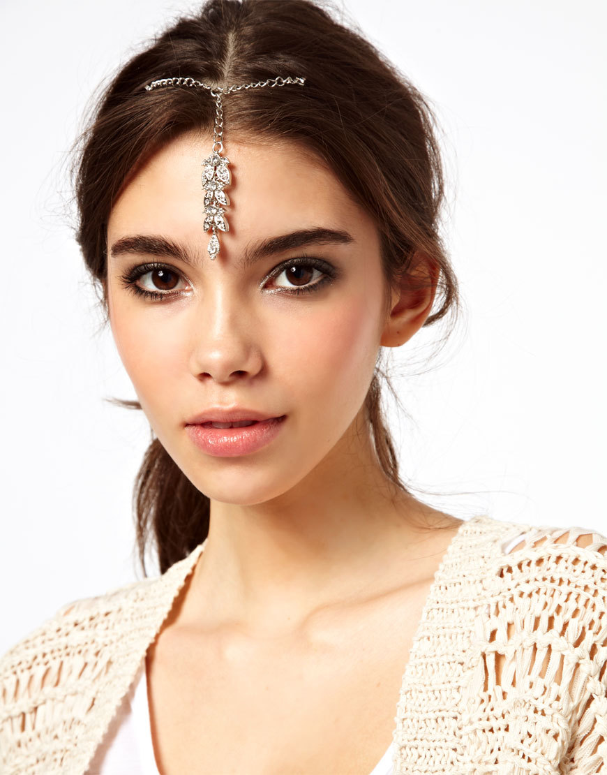 Trendy bridal headpiece - Fashion Indian Headpieces Hair Forehead Jewelry Butterfly Imitation Diamond Silver Hair Clip Hairpin For Women Wedding
