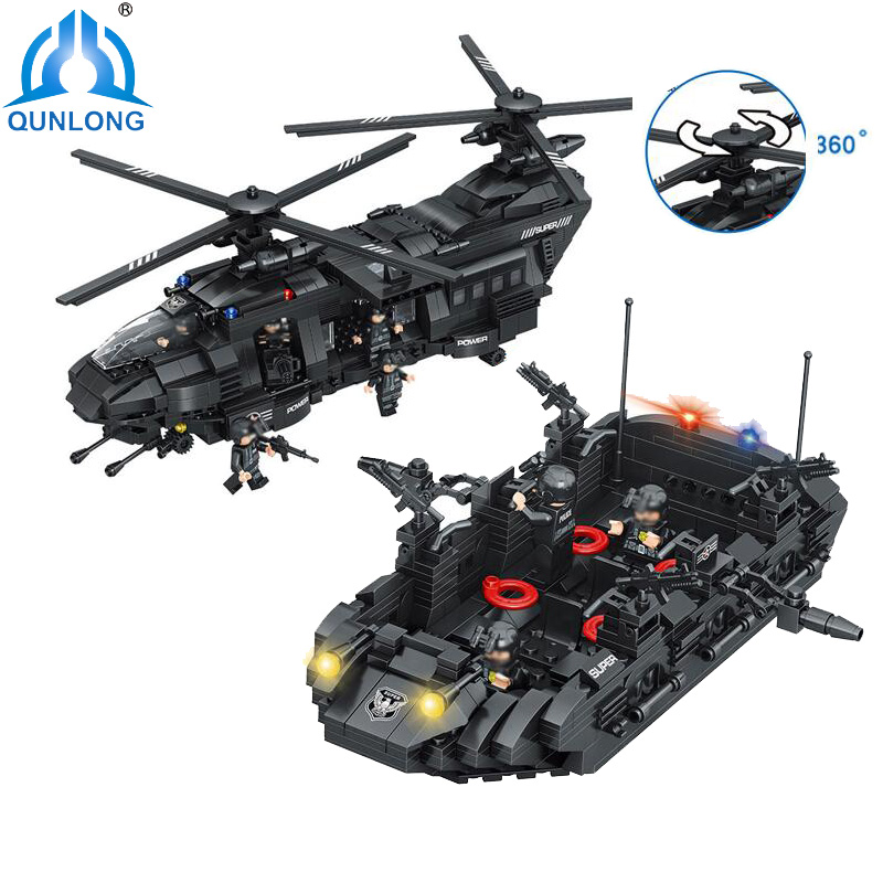 qunlong Military Helicopter Building Blocks Toy Compatible Legoe City Police SWAT Toy For Boy Compatible Lepin Starwars Figure моторное масло wolf vitaltech 5w30 4л