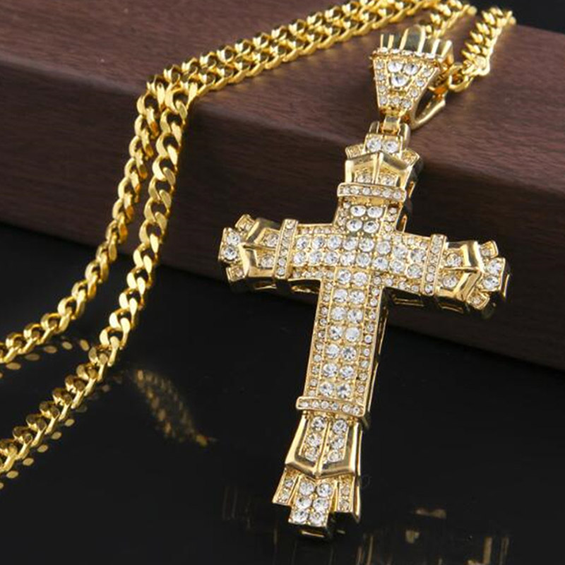 Fashion Statement Women Men Bling Rhinestone Cross Pendants Necklaces Hip Hop Jewelry Long Chain Gold Silver Color Big Necklace(China)