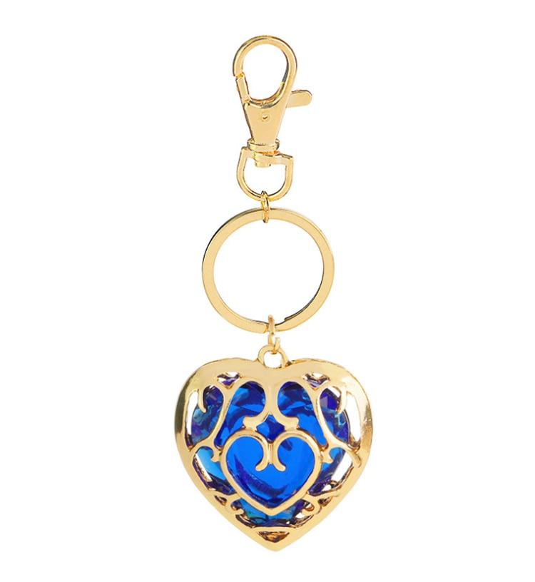 ZRM модные украшения Легенда о Zelda брелок синий кулон в виде красного сердца влюбленные пары брелок для женщин и мужчин - Цвет: Blue Keychain