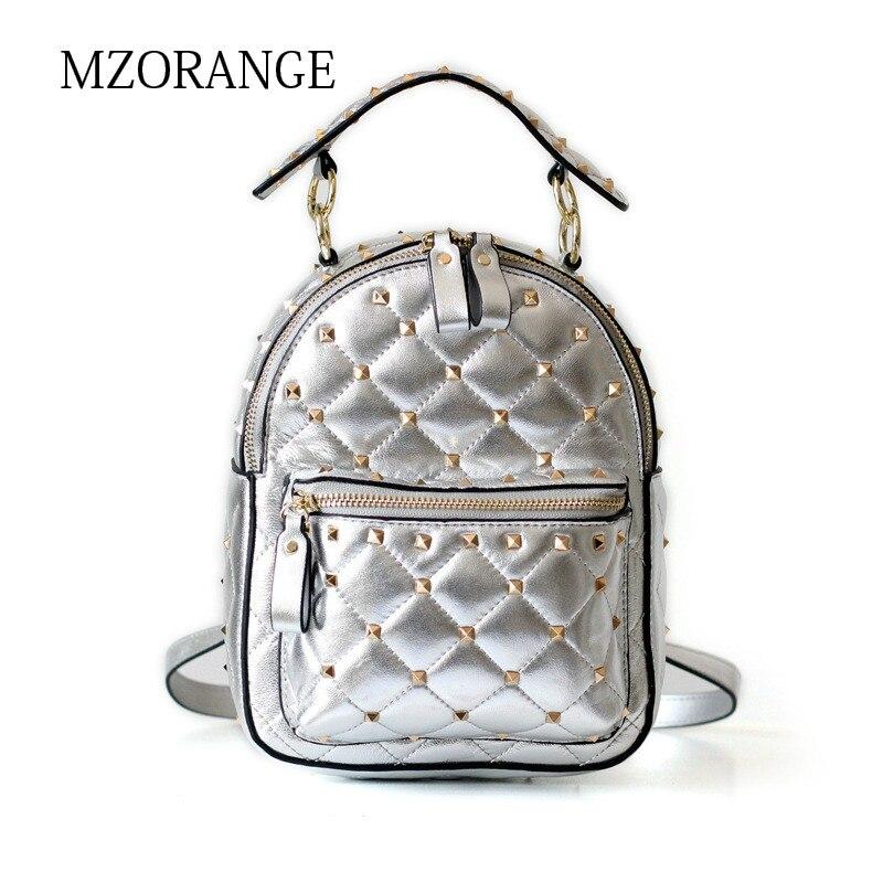 MZORANGE NEW sheepskin women gorgeous Rivet chic backpack 2018 Vintage genuine leather lattice Chain design Ladies backpack цена 2017