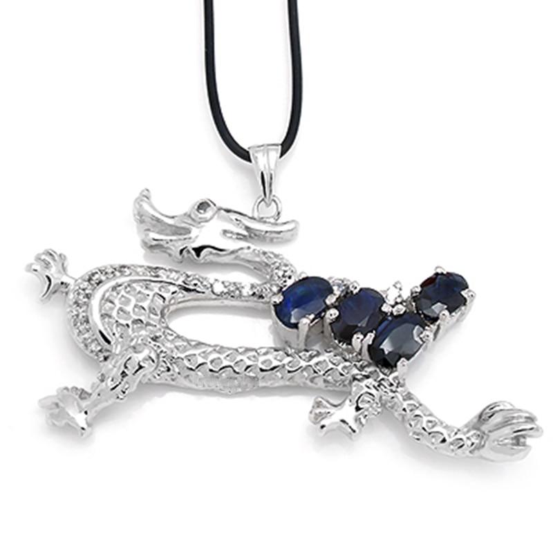 2017 nouveau Qi Xuan_Dark Blue pierre Dragon pendentif Necklace_Real bleu foncé collier _ qualité garantie _ fabricant directement vente