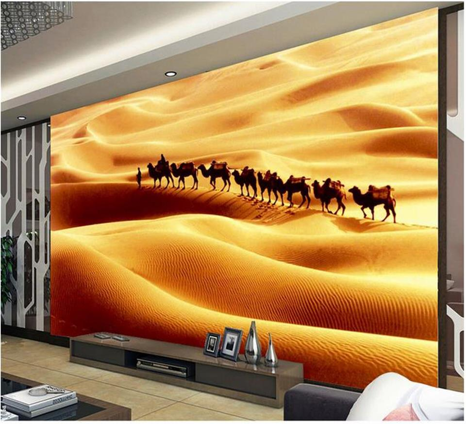 цены custom 3d photo wallpaper mural room non-woven wall sticker desert camel landscape 3d painting sofa TV background wall wallpaper