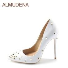 hot deal buy almudena rivets pointed-toe heels women sexy white black dress pumps gold rivets gladiator shoes 10cm 12cm stiletto heel pumps