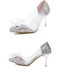 ขนาด4 ~ 8 Cinderellaรองเท้าส้นสูงผู้หญิงปั๊มคริสตัลจัดงานแต่งงานผู้หญิงรองเท้าs zapatos mujer