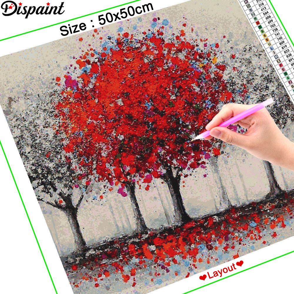 Dispaint Full Square Round Drill 5D DIY Diamond Painting quot Tree red scenery quot Embroidery Cross Stitch 3D Home Decor Gift A10997 in Diamond Painting Cross Stitch from Home amp Garden