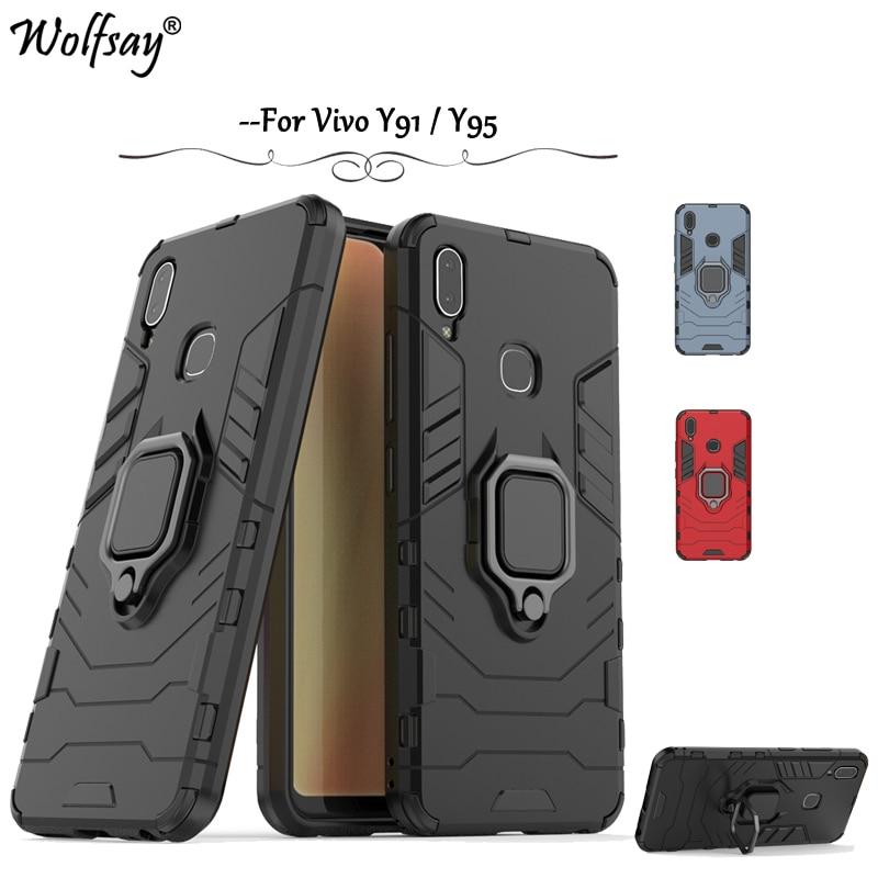 Vivo Y91 Case Armor Metal Finger Ring Holder Hard PC Phone Case For BBK Vivo Y91 Y95 Back Cover BBK Vivo Y95 Y91 Kickstand Shell