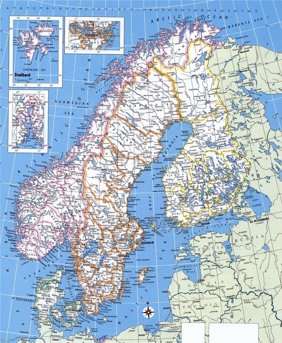 Mapa Polityczna Norwegia Szwecja Finlandia I Dania National