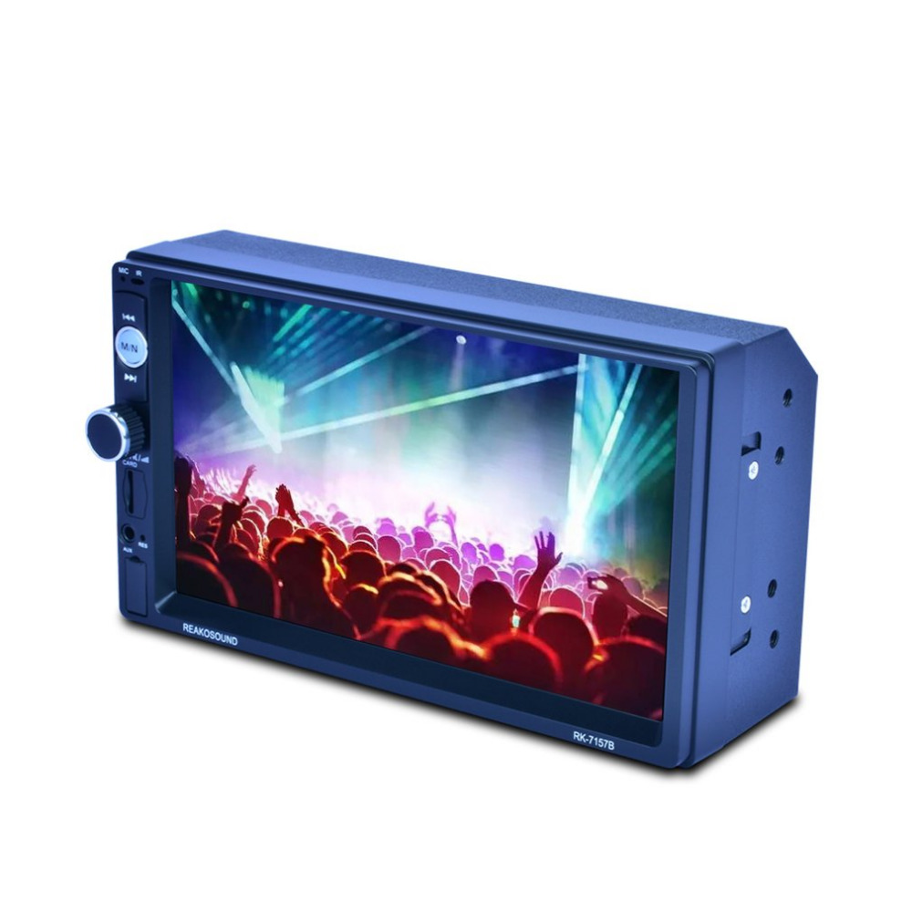 7 HD LCD Touch Screen 800*480 Car MP5 Player Bluetooth 1080P 7 Color Button Back Light Mirror Link FM/AM/RDS Tuner RK-7157B ultra thin 7 touch screen lcd wince 6 0 gps navigator w fm internal 4gb america map light blue