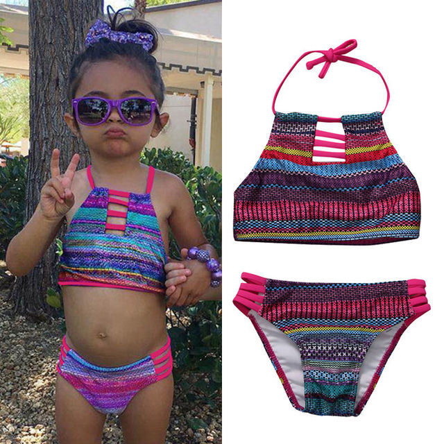 42e69a9765 2017 Infant Children Kid Baby Girls Summer Striped Swimwear Kids Child  Swimsuits Bikini Set Costumes Swimsuit