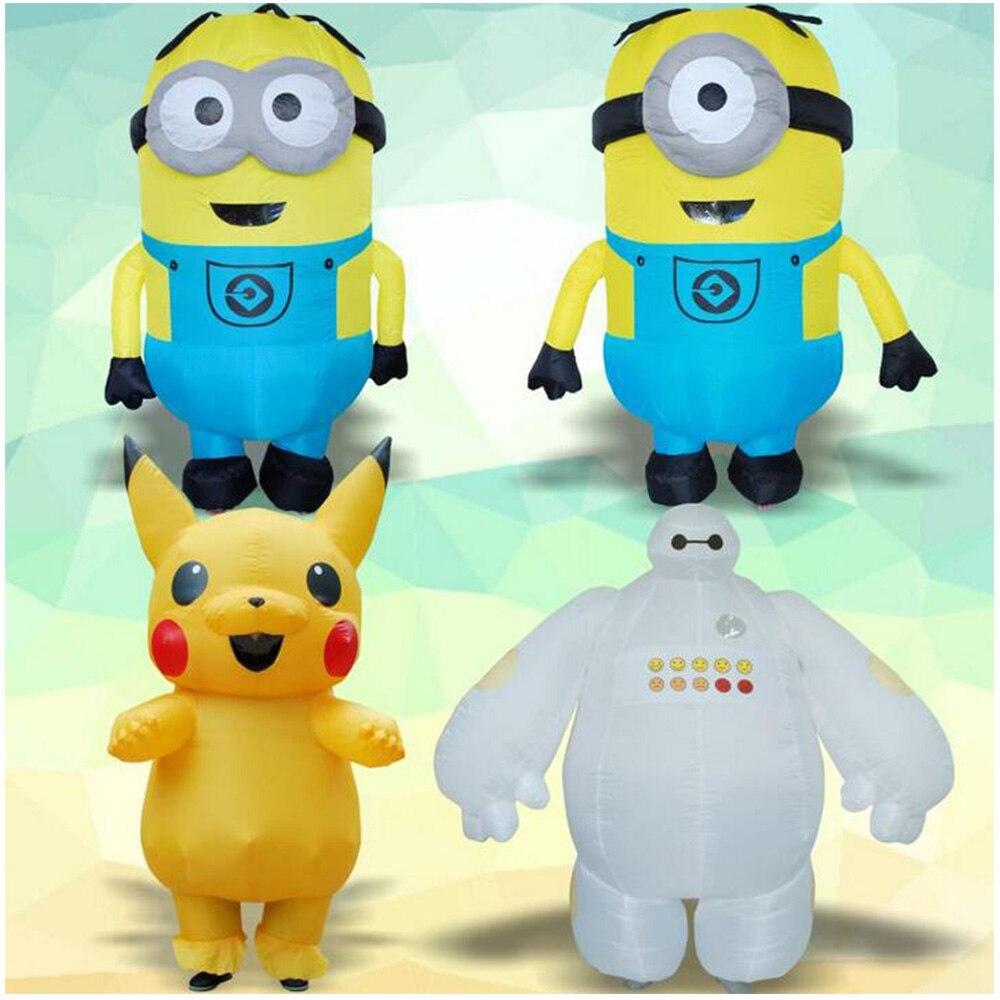 Хэллоуин Аниме Кукла Костюмы Вор Папа шоу с маленький желтый одежда супер корпус белый жир Пикачу надувной костюм