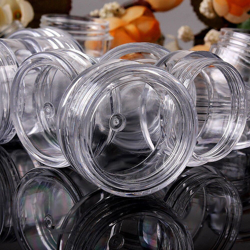 Image 5 - 100Pcs 2g/3g/5g/10g/15g/20g Plastic Cosmetics Jar Box Makeup Cream Nail Art Bead Storage Pot Container Round Bottle Clear CaseRefillable Bottles   -