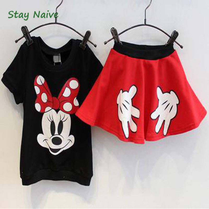 цены Retail Girls Summer Casual Clothing Sets Children Cartoon Mickey Minnie Pure Cotton T Shirt+ skirts 2pcs Kids Clothes