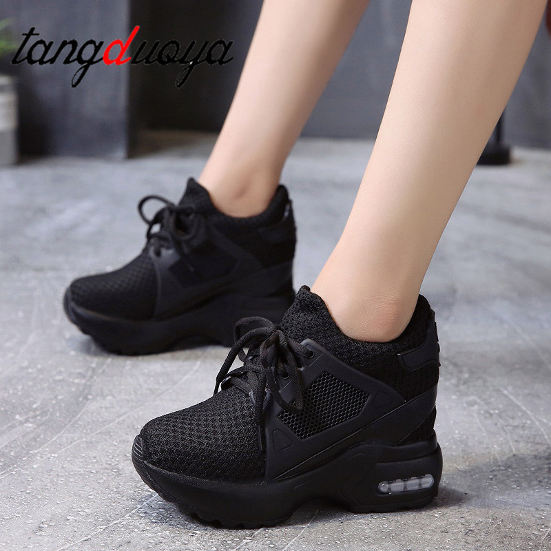 Sneakers Shoes Women Platform Wedge Heels Casual Shoes Breathable Mesh High Heel Autumn Casual Shoes Height Increasing Woman