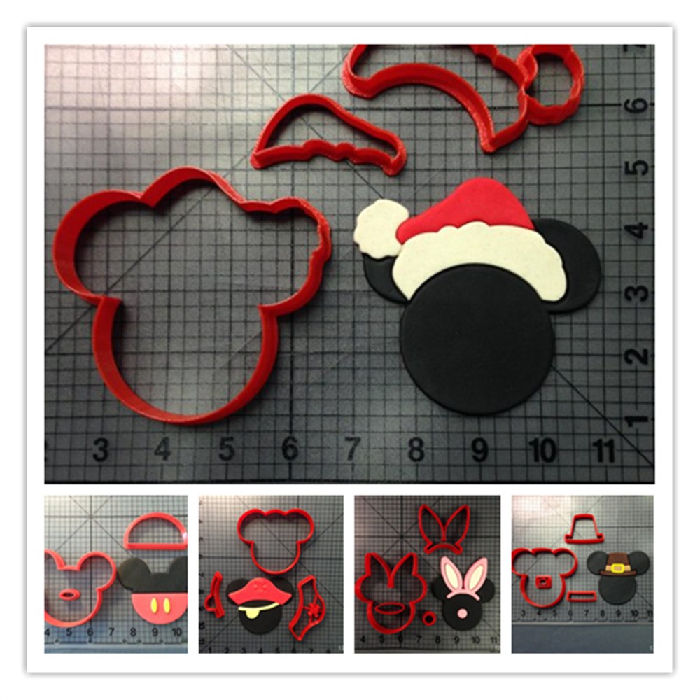 Cartoon Micky Mouse With Ears Pants Hat Cookie Cutter Set Custom Made 3D Printed Fondant Cupcake Top Kitchen Accessories