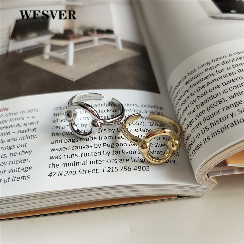 WFSVER 925 sterling silver simple ring for women korea style gold/silver color oval opening adjustable fine jewelry gift