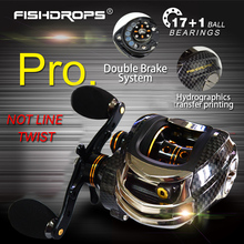 Fishdrops 17+1 Ball Bearings Baitcasting Reel LB200 7.0:1 Left/Right Hand Bait Casting Fishing Reels Max Drag 5.5KG Dual Brake