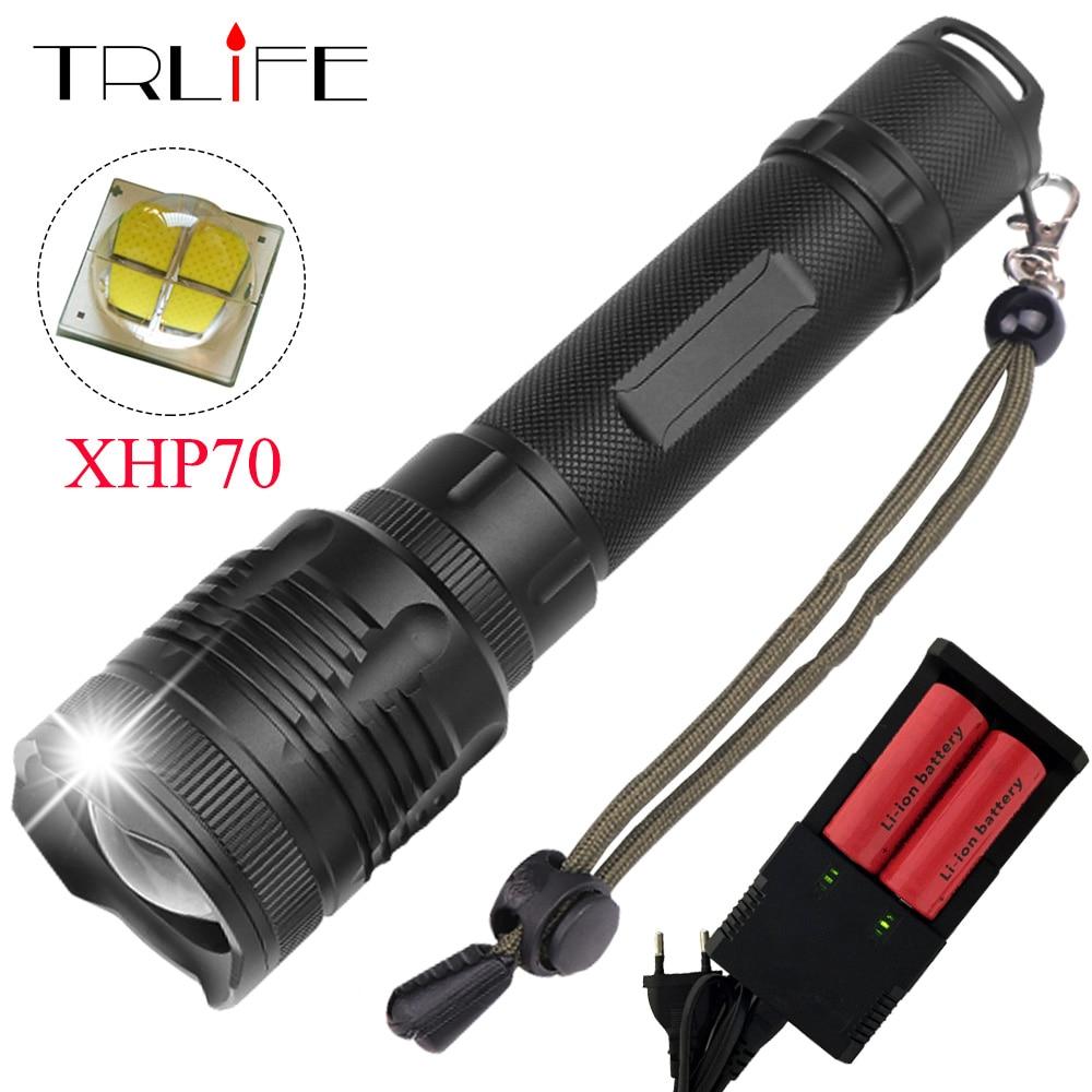 40000 Lumes XHP70 LED lampe de Poche XHP50 convoi lentille 40 w puce Lampe 2*26650 puissant Tactique LED Flash light torche Zoom LED Torche