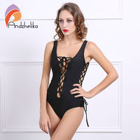 Fashion Sexy One Piece Women Swimwear Black White Deep V Neck Backless Rope Lace Up Bodysuit