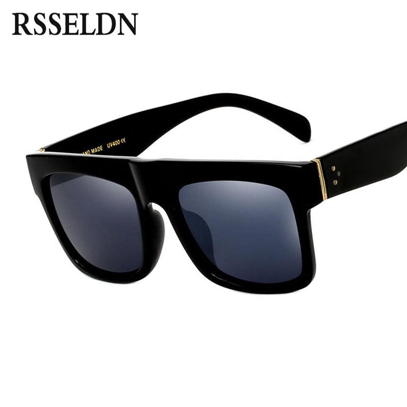 RSSELDN Flat Top gafas de sol Oversize gafas para hombre cuadrado gafas de sol mujer famosa marca de moda remache negro de la vendimia sombras UV400