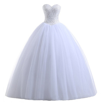 Holievery Bling Ball Gown Wedding Dresses 2019 Boda Sweetheart Neckline Tulle Wedding Gown Robe Mariage Bride Dress White Ivory