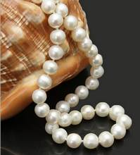 Jewelry Pearl Necklace Attractive 10-11mm white natural freshwater cultured pearl necklace Factory Wholesale price Free Shipping(China)
