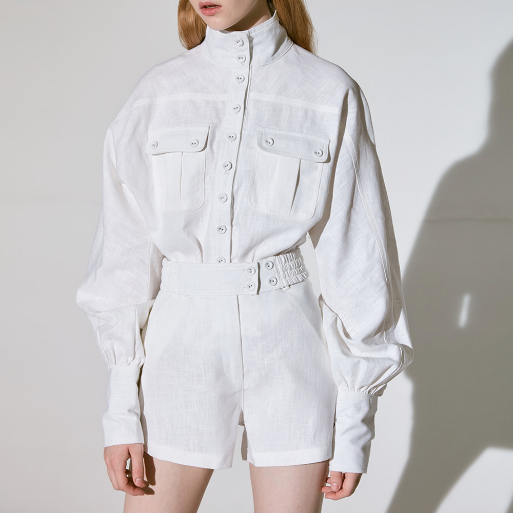 Red RoosaRosee 2019 Women s White Shirt Shorts Two Piece Set Lantern Sleeve Blouse Elastic High