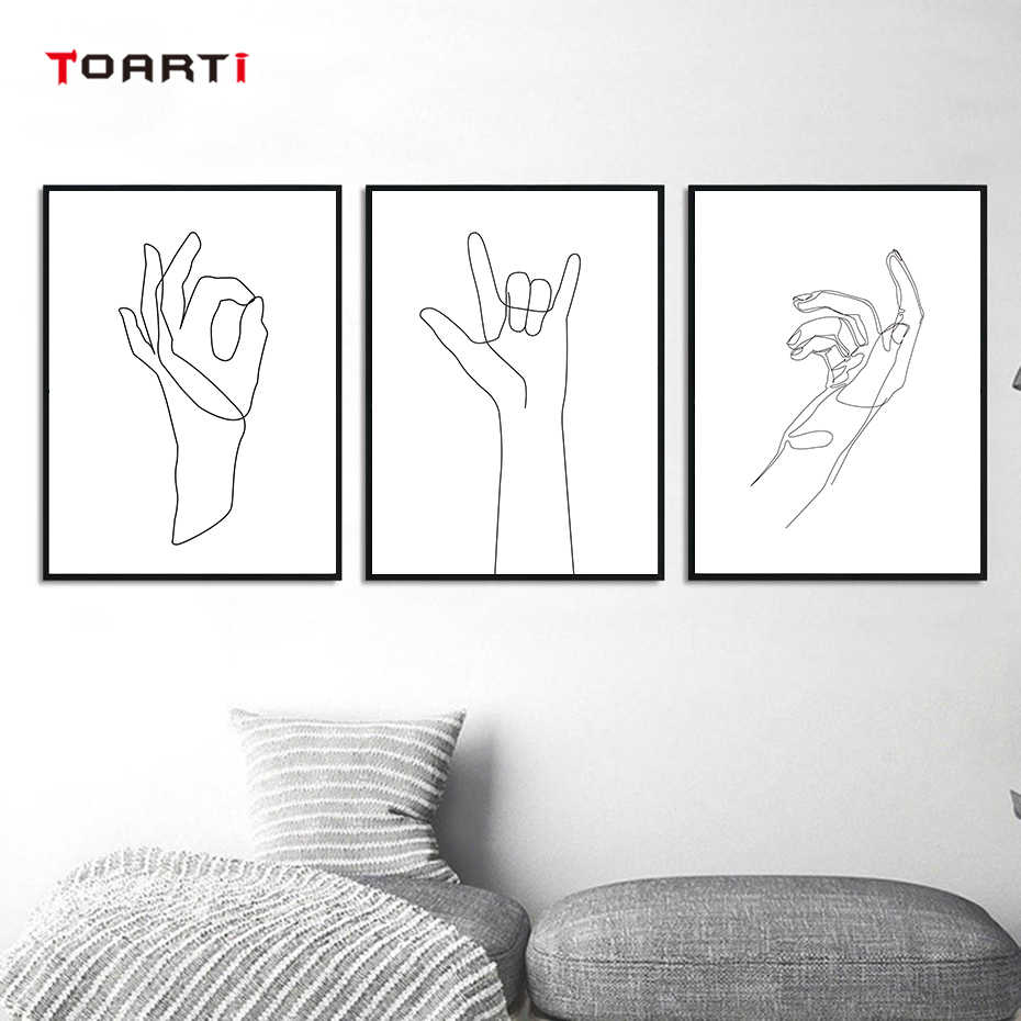 Simple Hands Gesture Body Art Modern Painting Minimalist Line Drawing Nordic Posters&Prints Living Room Home Decor Wall Pictures