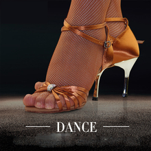 Sports shoes women Dance shoes Christmas Gift  BD 2311 Latin dance shoes woman Ballroom Shoe Gold heel High-grade diamond Satin