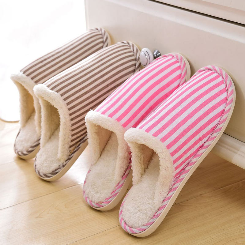 Winter Slippers Women Fur Slippers Fluffy Slides Home Shoes Indoor Flat Shoes Striped Cotton Furry Flip Flops Pantoufle Femme