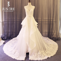 Illusion Tank Sweetheart Beading Appliques A line Big Train Lace Edge Around Zipper Back Crystal Belt 2 in 1 Wedding Dress 2018