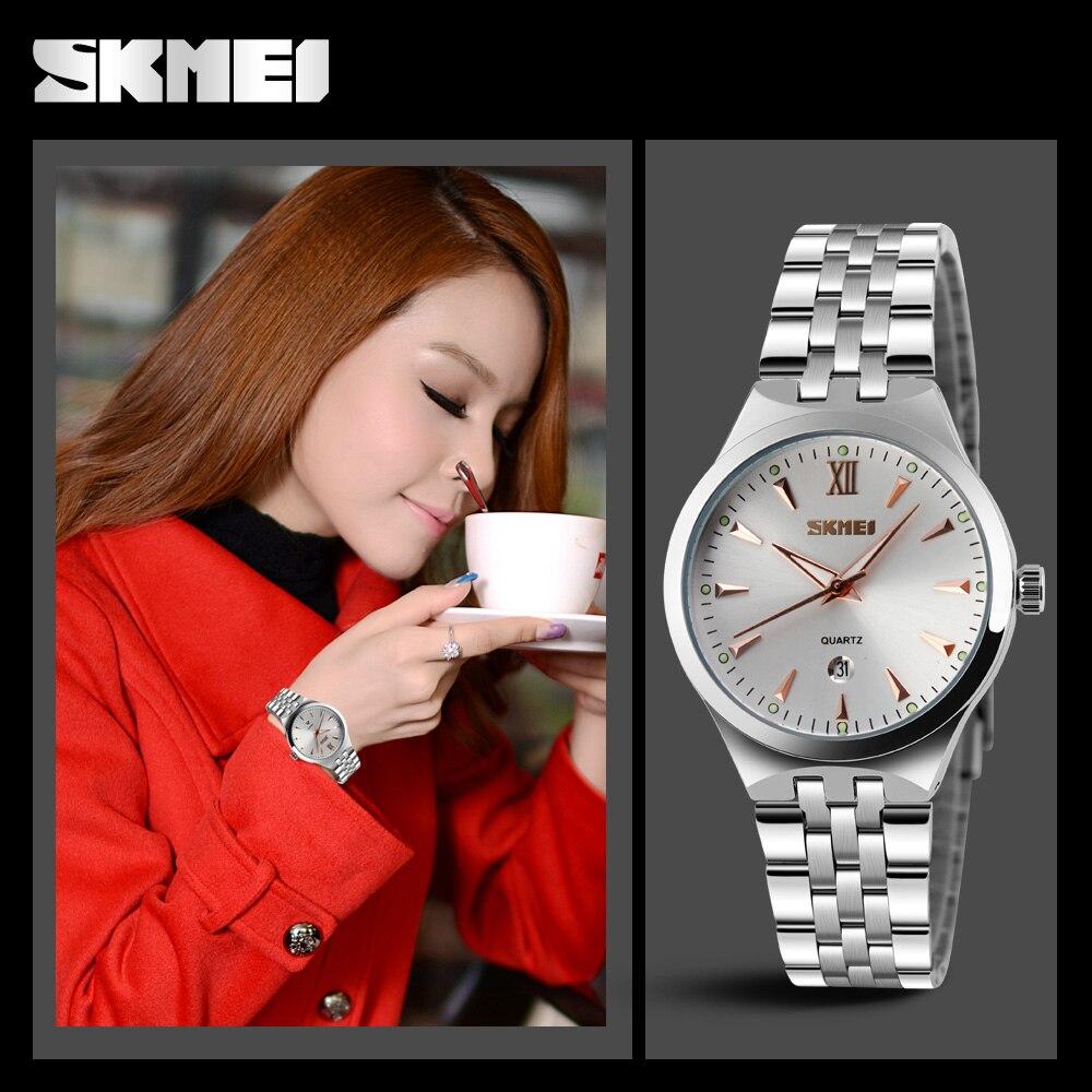 abf84effb0e9 Relojes Mujer marca de lujo skmei cuarzo relojes del deporte de la manera  del acero inoxidable reloj Relogio feminino en Relojes de mujer de Relojes  en ...